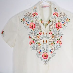 60s vintage embroidered button down blouse